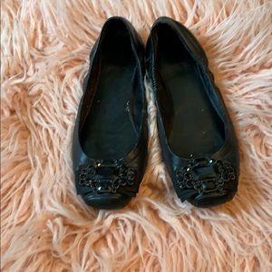Jewel toe black ballet flats